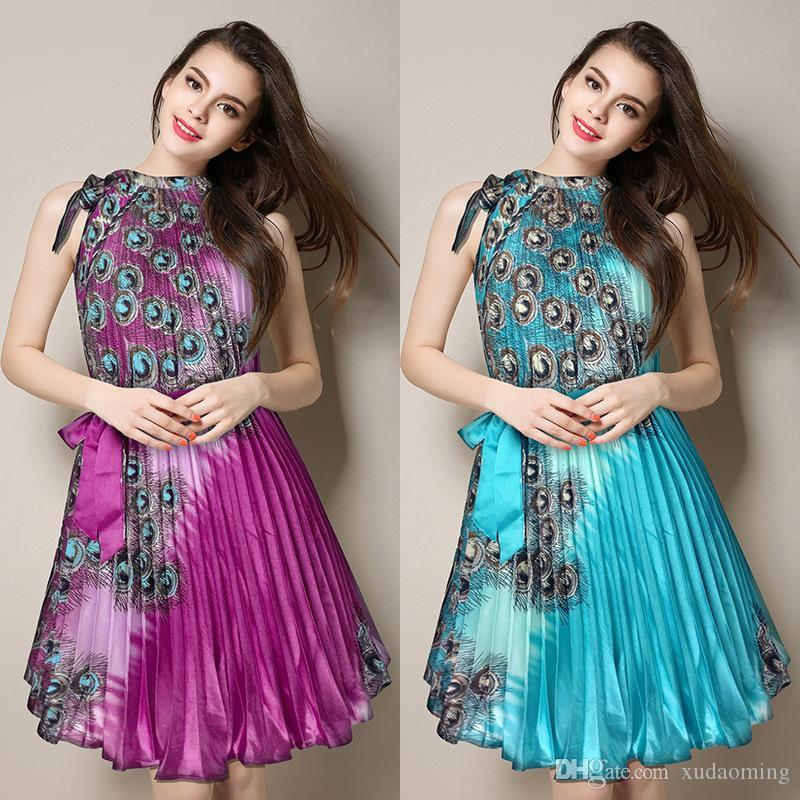 2016 Summer New Product S 4 XL Will Pendulum Dress Hertz Basis The Wind Off The Shoulder Peacock Printing Chalaza Silk Pleated Skirt