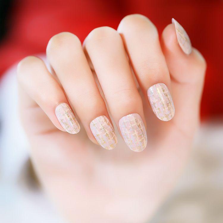 24pcs / set motif doré rond petit pré conception faux ongles style japonais faux ongles ongles art conseils salon manucure art pour femmes dame fille