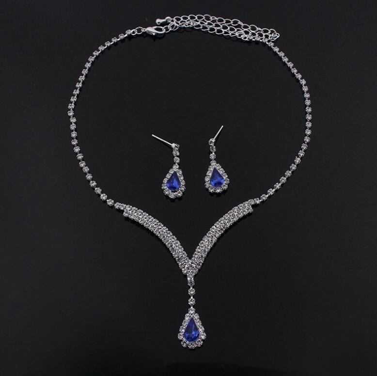 Luxus sparkly V-förmigen Schmuck-Sets für Hochzeit Prom Abend Cocktail Braut Zubehör Strass Kristall Anhänger Halskette Ohrringe Set