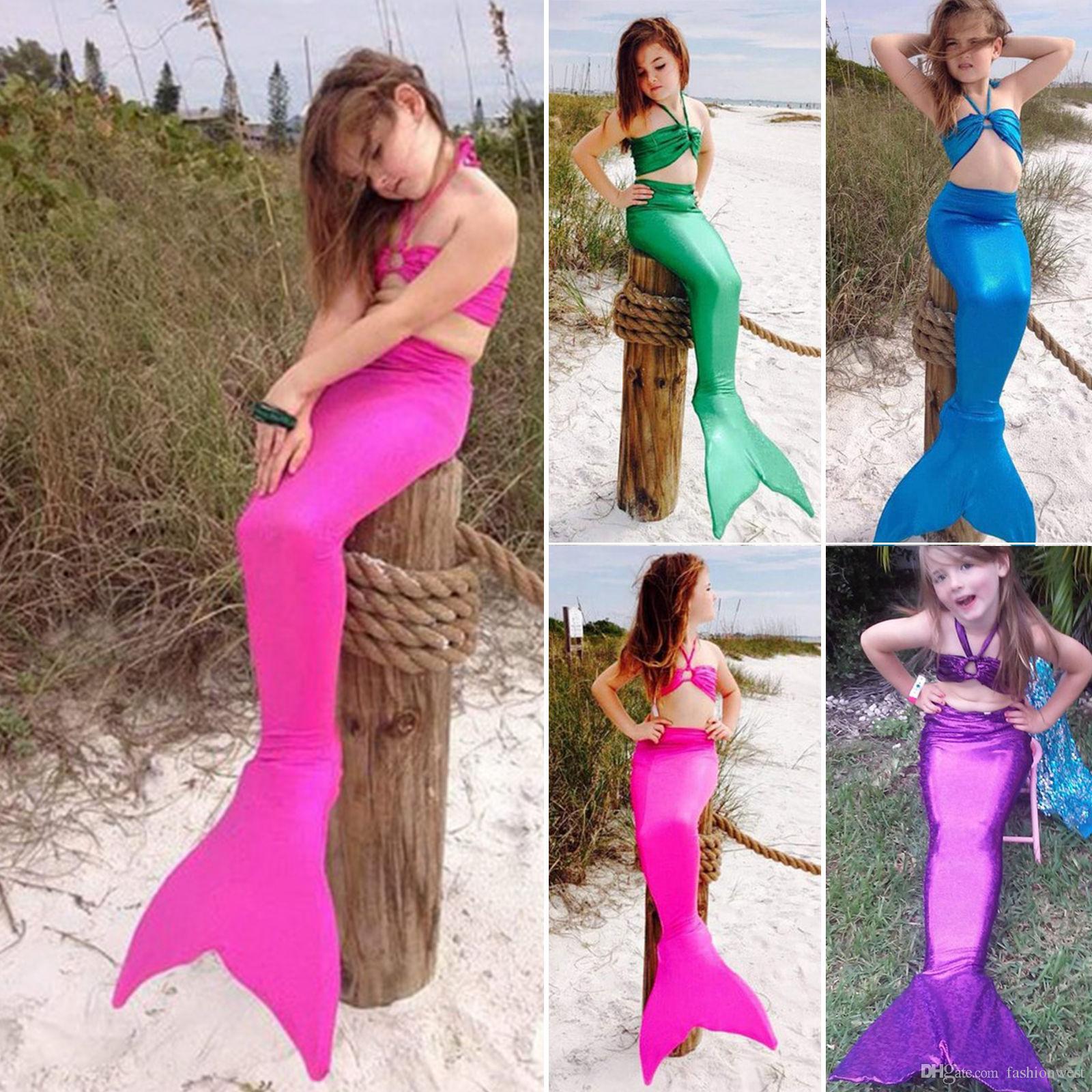 3PCS Girl Kids Mermaid Tail Swimmable Bikini Set Bathing Suit Fancy Costume 3-8Y
