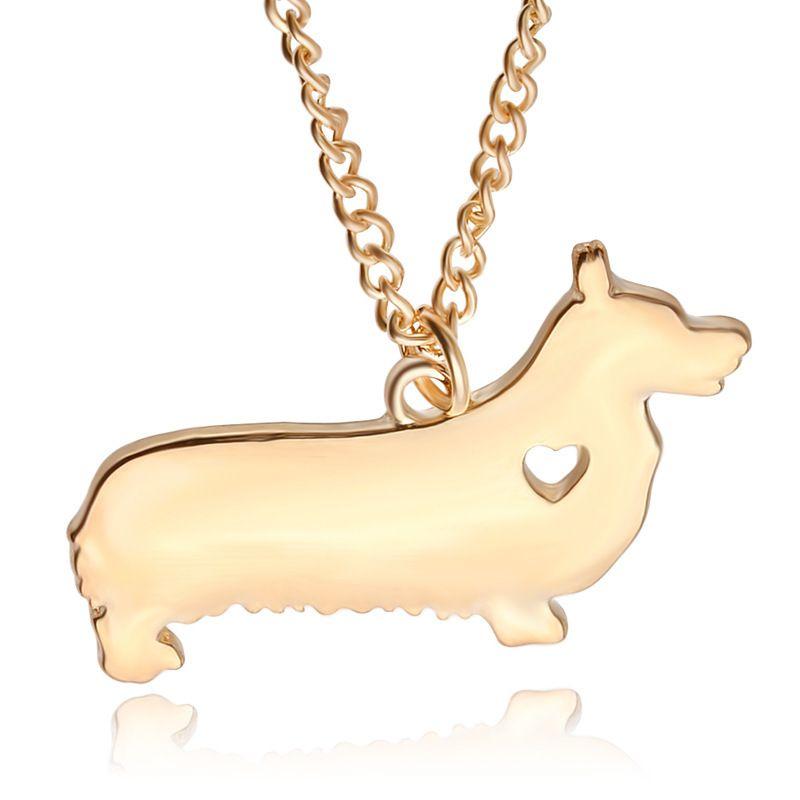 2016 귀여운 디자인 18K 금 도금 강아지 목걸이 Corgi 개 목걸이 패션 쥬얼리 아름다운 선물 실버 도금 55cm 체인 도금