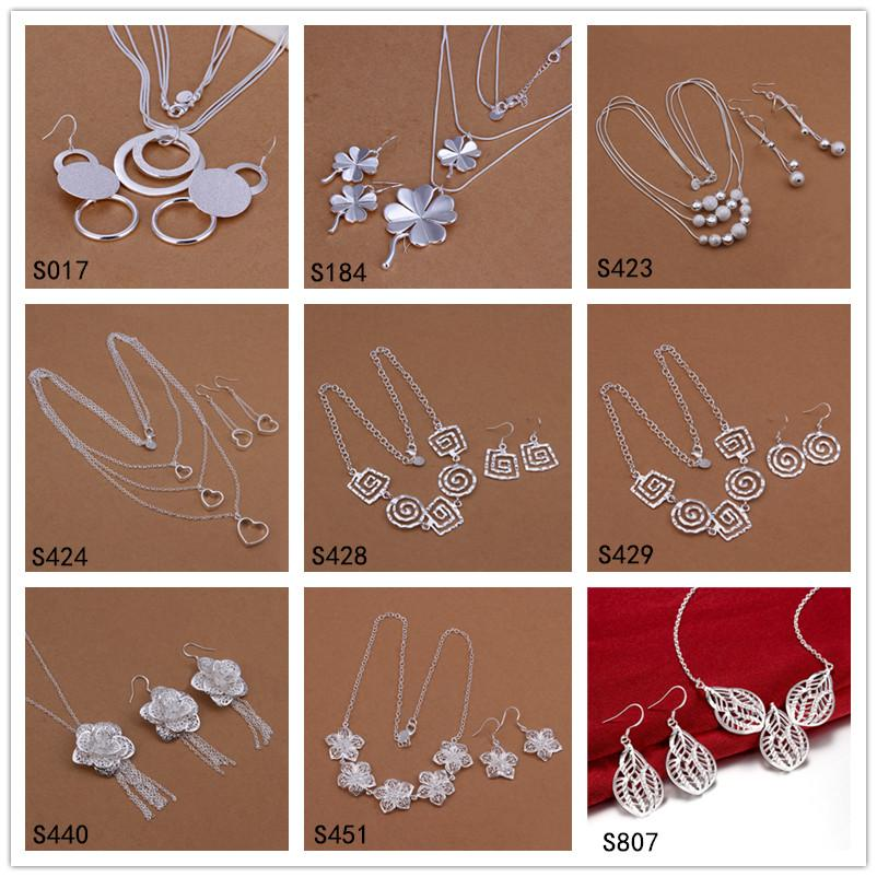 factory direct sale women's sterling silver jewelry sets 6 sets a lot mixed style EMS33,fashion 925 silver Necklace Earring jewelry set