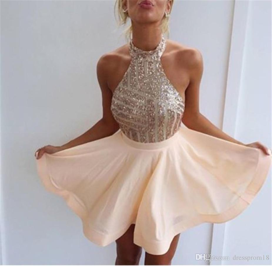 Sparkly Sequined Halter Top Nude Short Party Prom Homecoming Dress ...