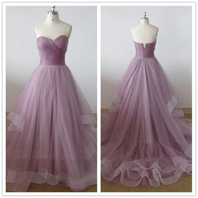 Discount Simple Purple Wedding Dresses Sweetheart A Line Chapel ...