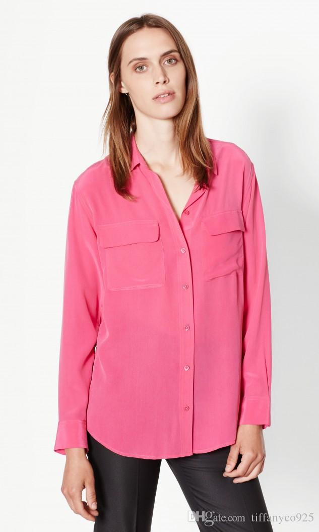 2017 Elegance Fuschia Long Sleeves Turn-Down Collar Solid Color 100% Pure Silk Soie With Pocket Ladies Top Blouse Summer Fall EQ Shirt GX101