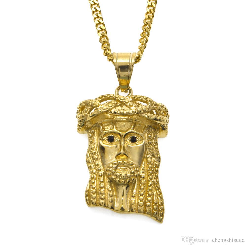 """Collana in acciaio inossidabile Hip Hop Jesus Piece Face Micro Micro pendente ciondolo placcato in oro 24 """"catena cubana per uomo e donna gioielli"""