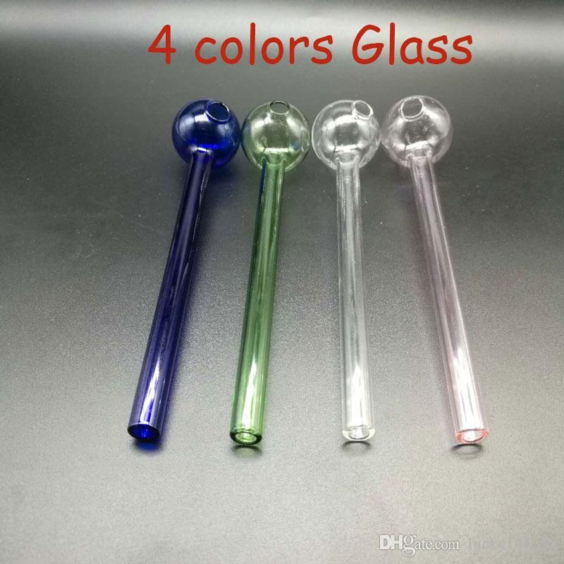 6Inch Oil Burner 4 colori Tubi di vetro Oil Burner Pipa economico Acqua in vetro Pyrex Bubbler Oil Burner Tubi di vendita della maniglia di vetro Tubi Hot