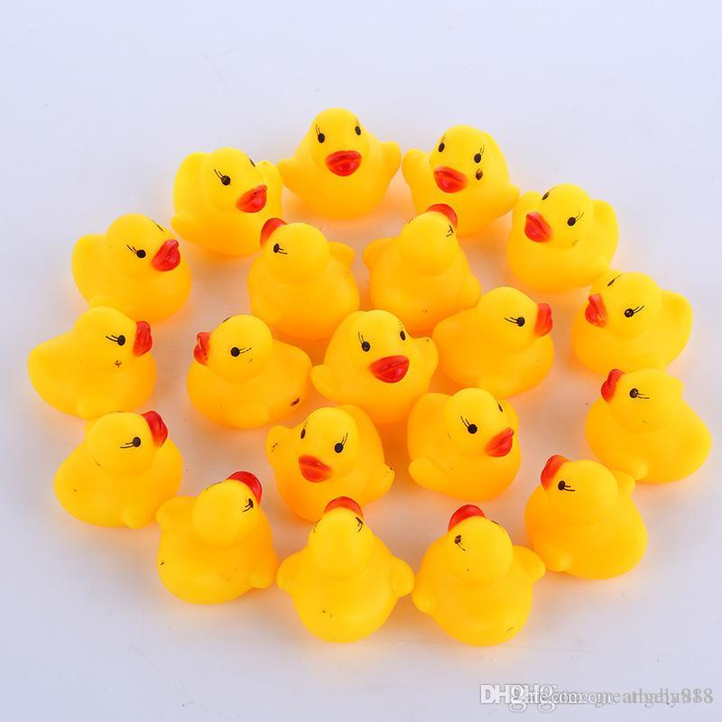 High Quality Baby Bath Water Duck Toy Sounds Mini Yellow Rubber Ducks Bath Small Duck Toy Children Swiming Beach Gifts EMS shipping E1277