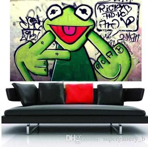 Framed Pure Hand-painted Modern Abstract Graffiti Animal Art Oil Painting Frog,Home Wall Art Decor High Quality Canvas Multi Sizes Available