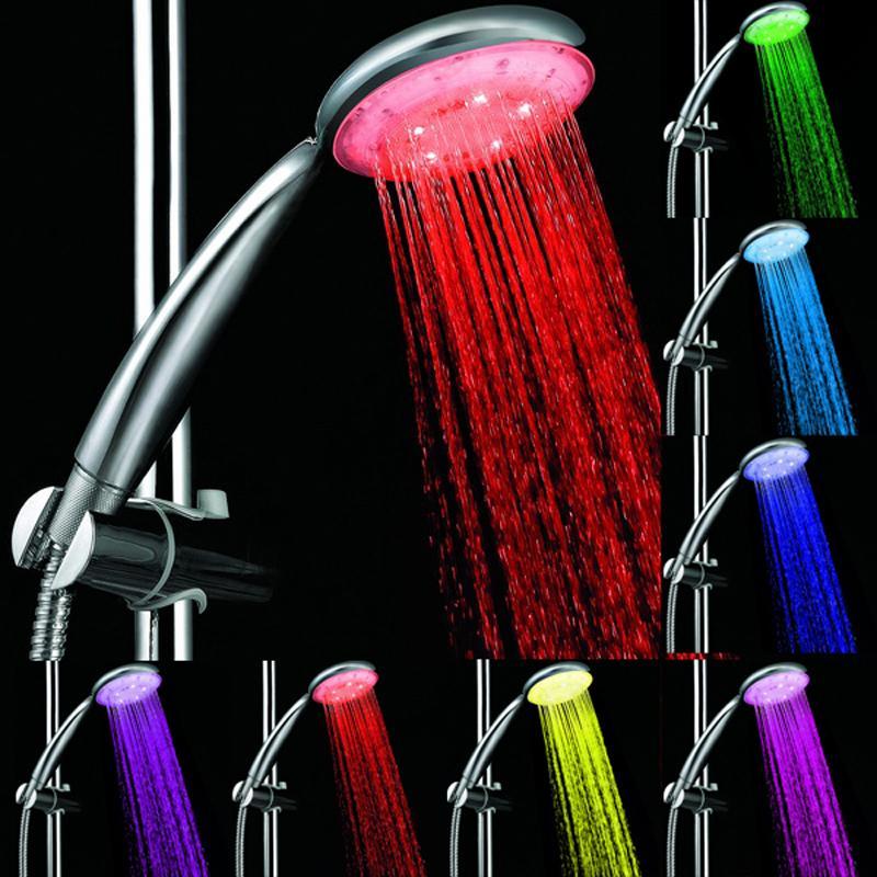 7 farben Bunte Automatische Jump Ändern Wasserdurchfluss Duschkopf Bad Wasserhahn LED Griff Wassersparende Duschkopf