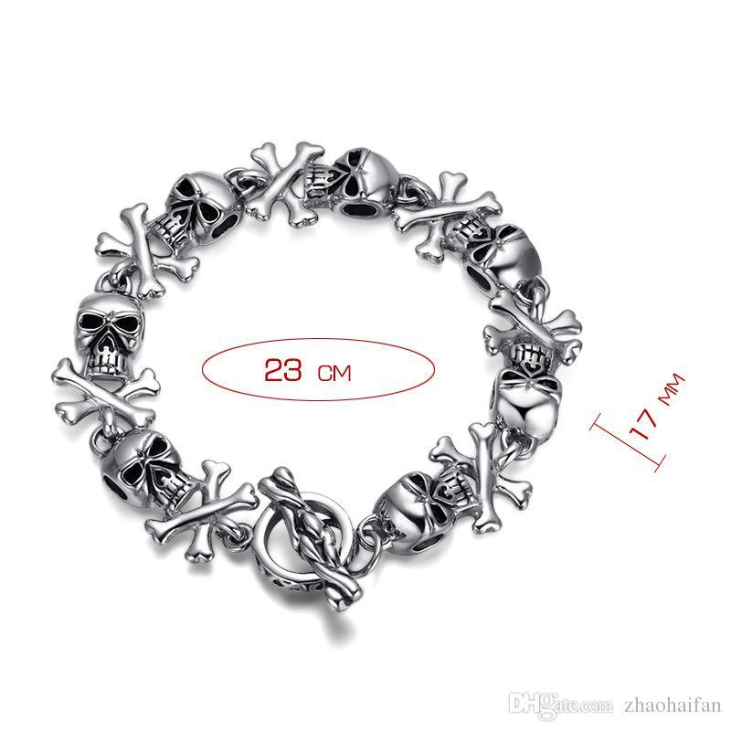ZHF Bijoux titane acier crâne bracelet et personnalité Titanium acier bracelet fantôme haut de gamme bijoux de Noël cadeau