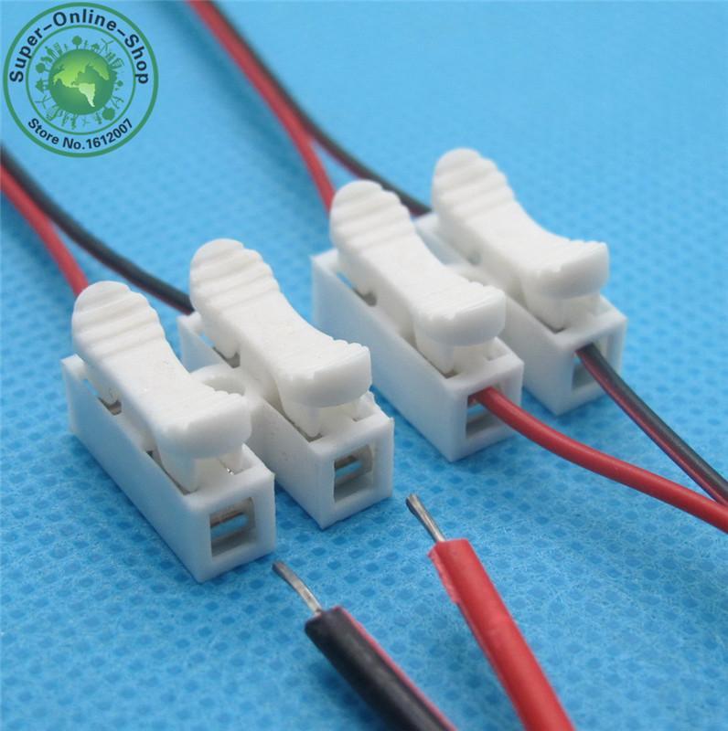 10x2p Bahar Bağlayıcı tel ile hiçbir kaynak yok vidalar Hızlı Bağlantı kablo kelepçesi Terminal Bloğu 2 Yollu kolay led şerit için Fit
