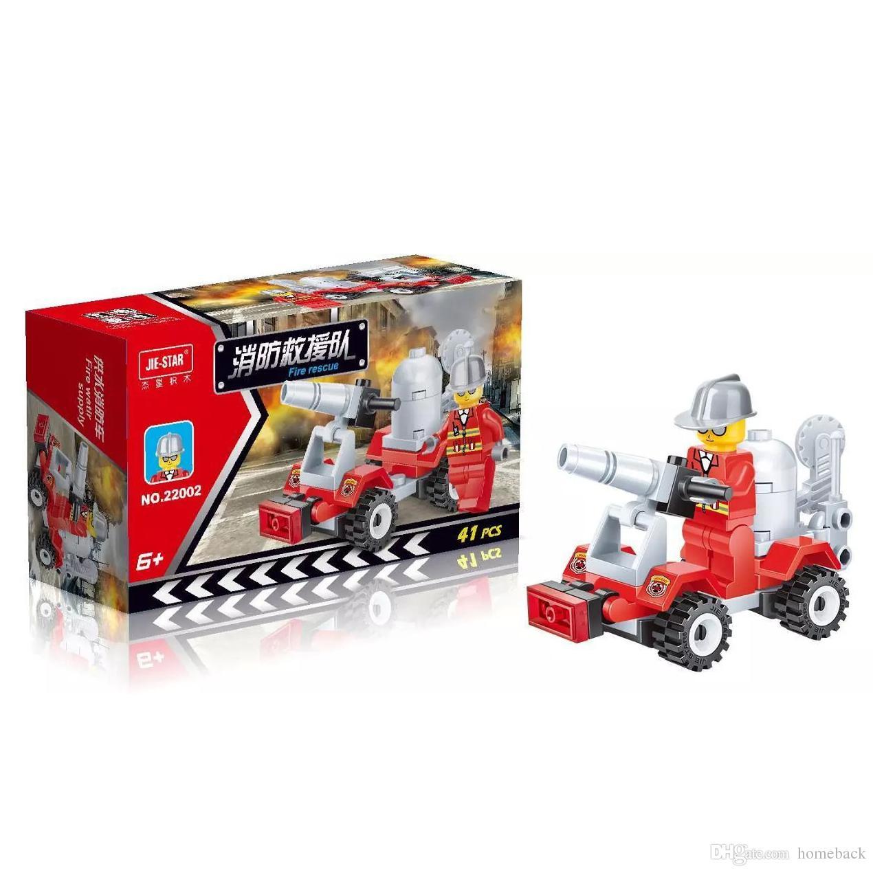 Ücretsiz DHL 41 ADET / TAKıM Şehir Yangın Kurtarma Araç Araba Modeli Yapı Taşları Set Çocuk Eğitim Bulmaca Oyuncaklar Çocuk Hediyeler