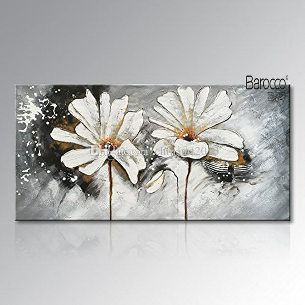 100% Hand Painted White Flowers Abstract Oil Painting on Canvas Modern Home Wall Decoration No Framed