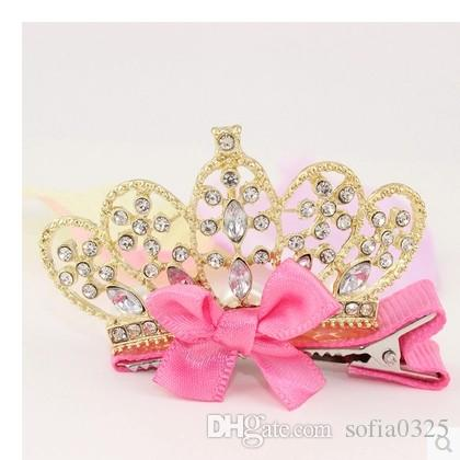 Wholesale Kids Hair Clips Crown Tiaras Accessories Princess Flower Girl Hair Bows Barrettes Children Baby Hairpins Rhinestone Beaded Feather