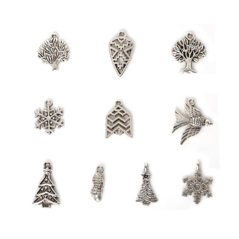 Free shipping Wholesale 95pcs Mixed Antique Silver Plated Zinc Alloy Christmas Tree Swallow Charms Pendants DIY Metal Jewelry Findings jewe