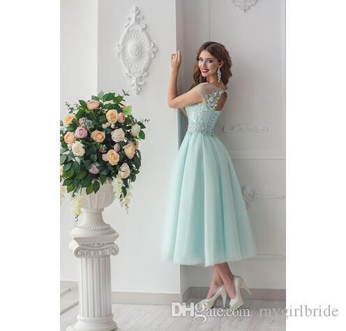 Short Sleeve Applique Lace Mint Bridesmaid Dresses Tea Length Open ...