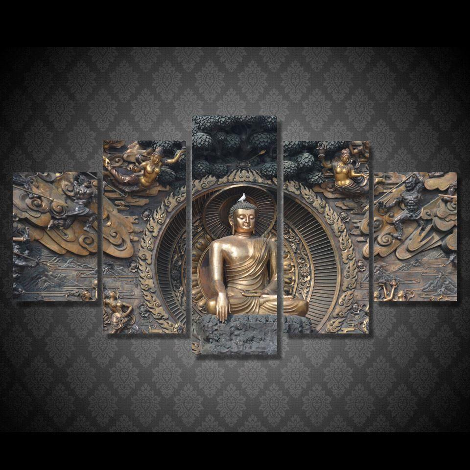 Poster Resmi Tuval Quadro Boyama Baskı Wall Art Odası Dekor Boyama 5 Paneli HD Baskılı Buda Heykeli