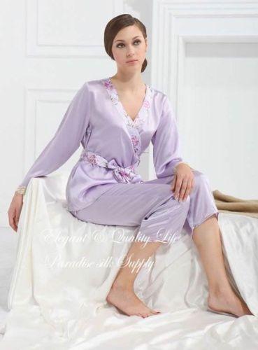 Pure Charmeuse Silk Womens Lilac Pajamas Set US 2 6 10 Purple