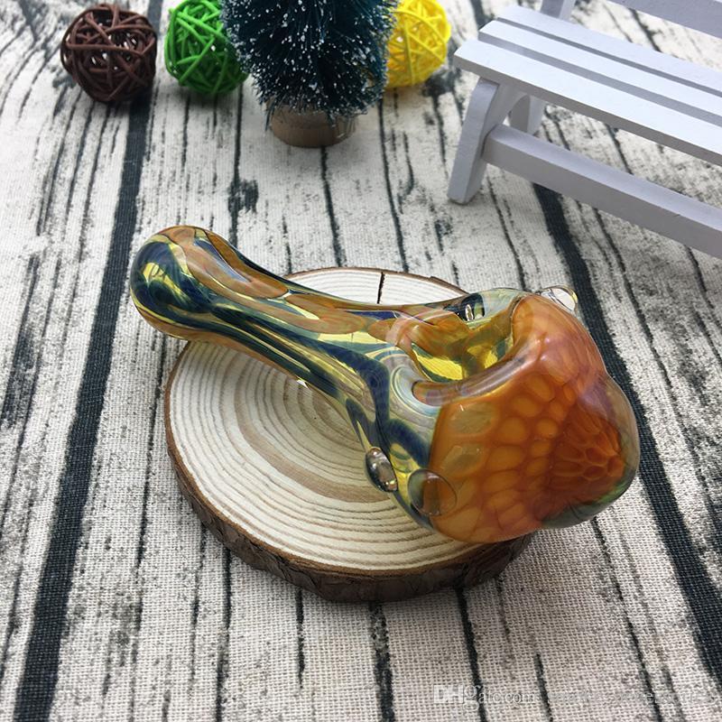 Красивые 4,7 дюйма внутри цветные полосы ложка трубы табака стеклянная труба для курения использование стекла ручной трубы