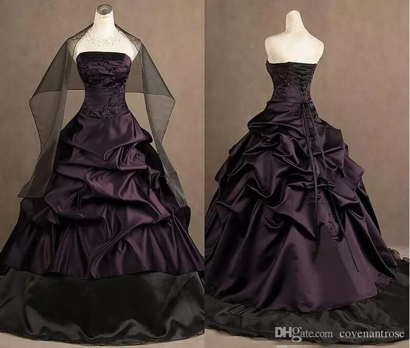2017 Gothic Wedding Dresses Real Photos Victorian Bridal Dress Strapless Ruched Taffeta Ball Dresses Lace-up Formal Dresses