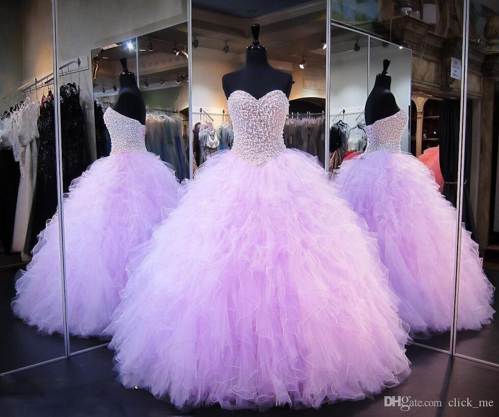 Lavender Quinceanera Dresses Ball Gown Corset Crystals Pearls Ruffles Tulle Lace Up Back Pageant Gowns For Girls Sweetheart Prom Dress