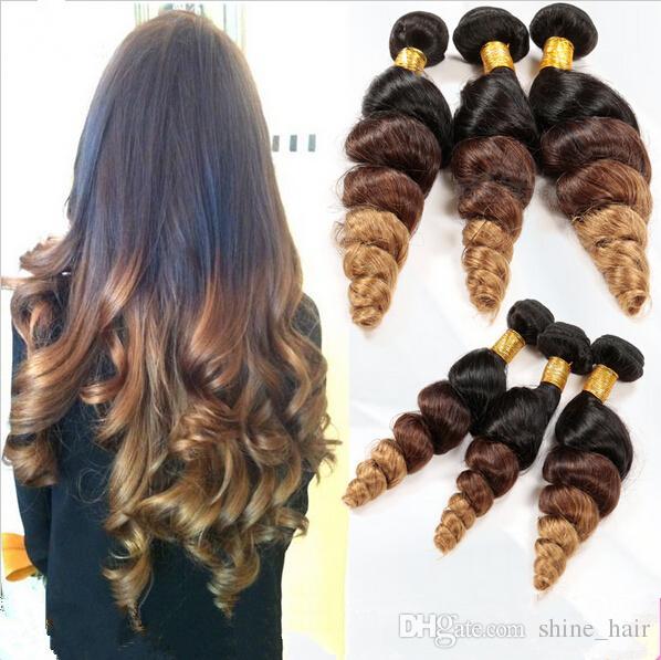 Virgin Peruvian Brown Blonde Ombre Human Hair 3Pcs Lot Loose Wave #1B/4/27 Honey Blonde 3Tone Ombre Peruvian Virgin Hair Weave Bundles
