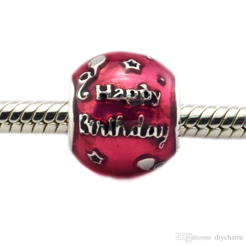 Fits for Pandora Bracelet 100% 925 Sterling Silver beads Birthday Celebration, Transparent Cerise Enamel diy Thread charms 1pc/lot