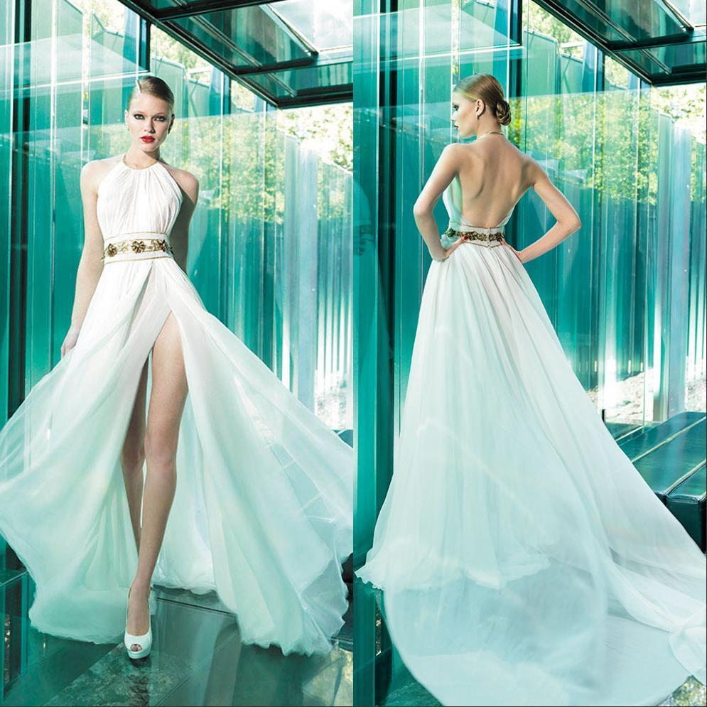Discount Bohemian Beach Wedding Dresses A Line Split Low Back Halter ...
