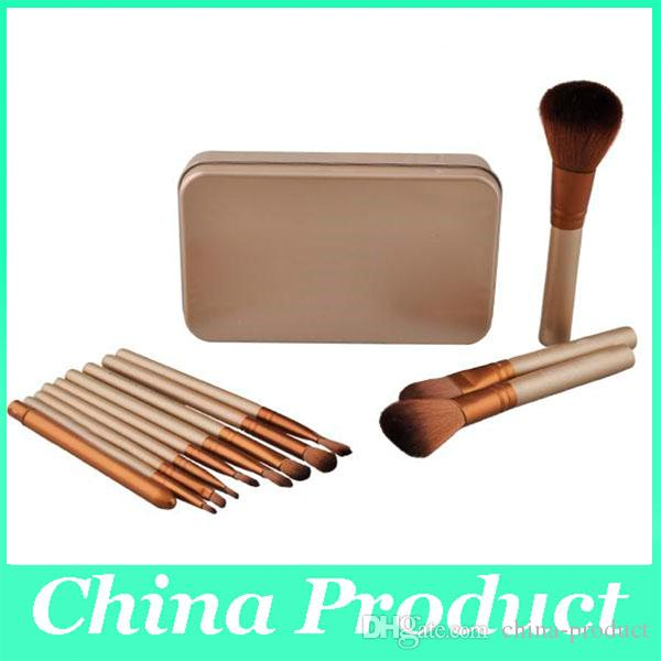 12Pcs Synthetic Makeup Brush Set Cosmetic Brushes Gold Wooden Handle Facial Make up Brush Tools Makeup Brushes Set Kit with a Box
