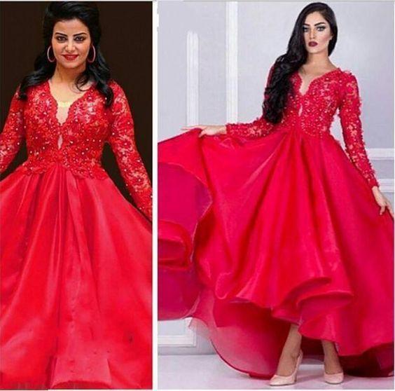2019 Vermelho Organza Árabe Vestidos de Baile Vestidos de Baile Mangas Compridas Beads Ball Gowns Vestido de Festa Alta Baixa Red Carpet Dress Custom Made