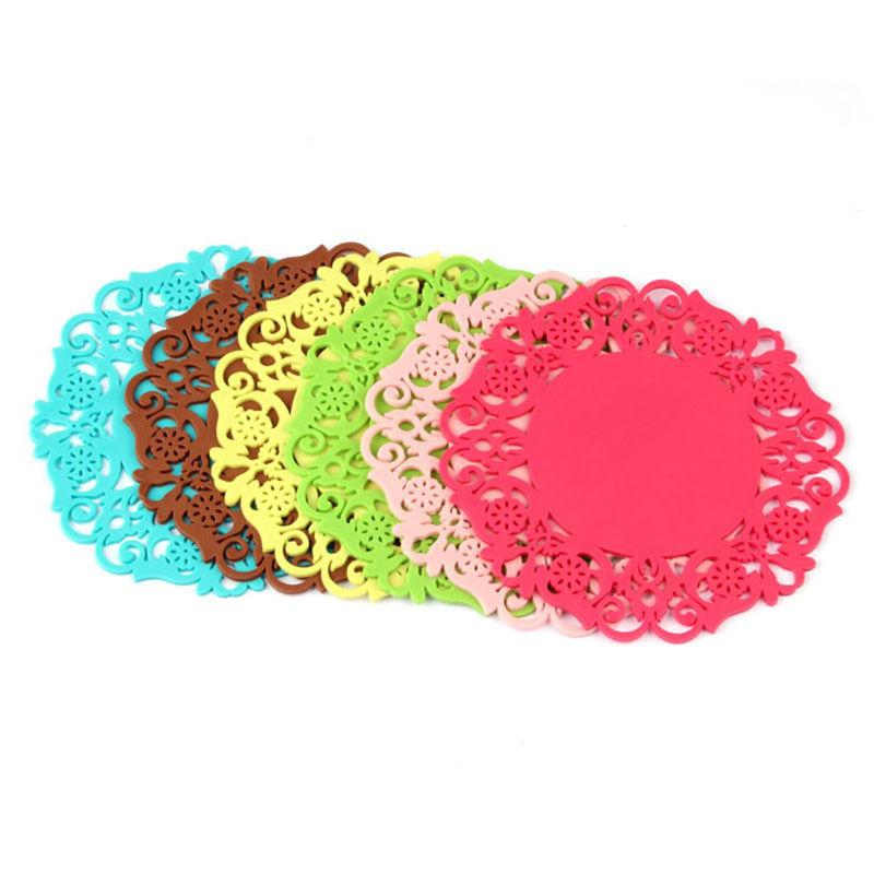 2pcs Lovely Silicone Lace Flower Cup Sottobicchiere Pad antiscivolo Cuscino Placemat # R571