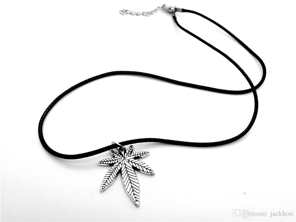 5PCS European American Canada Jamaica Hemp Maple Leaf Necklace Pendants African Plants Long Tree Foliage Leaves Leather Rope Necklaces