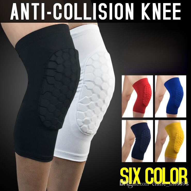 Rodillas de baloncesto de seguridad para adultos antideslizantes de panal almohadilla de pata de la pata de la rodilla de la pierna de compresión de la calva con el protector de la rodilla del ciclismo