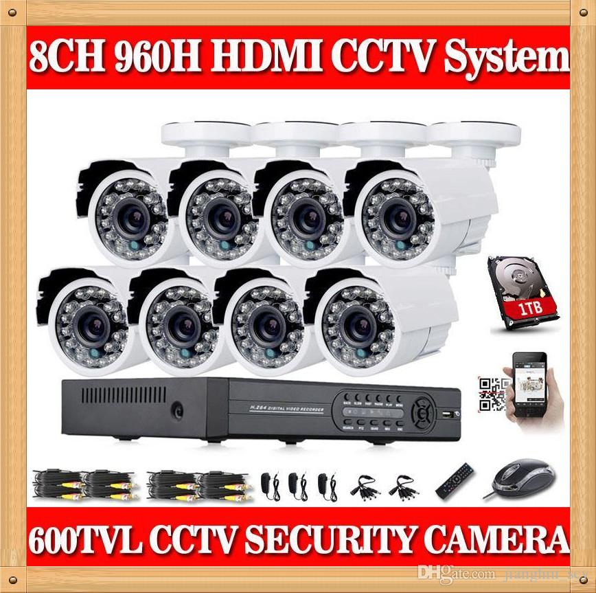 CIA- Home 8CH CCTV Security camera set day night 600tvl Camera with 8channel DVR Kit 1tb hard drive Color Video Surveillance System