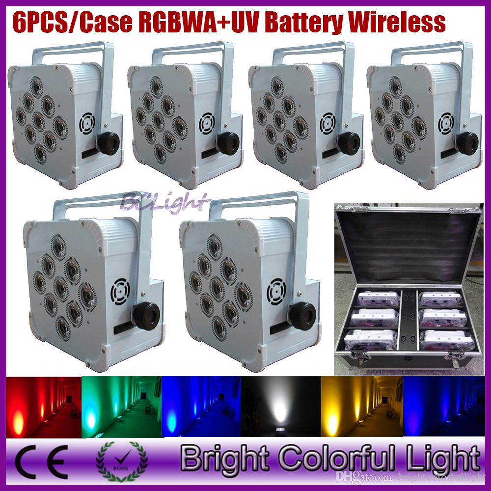 (6lights+1 fly case/lot) HOT RGBWAUV 6 IN 1 Wireless dmx led stage lights/led battery operated wireless led par/wedding led uplights