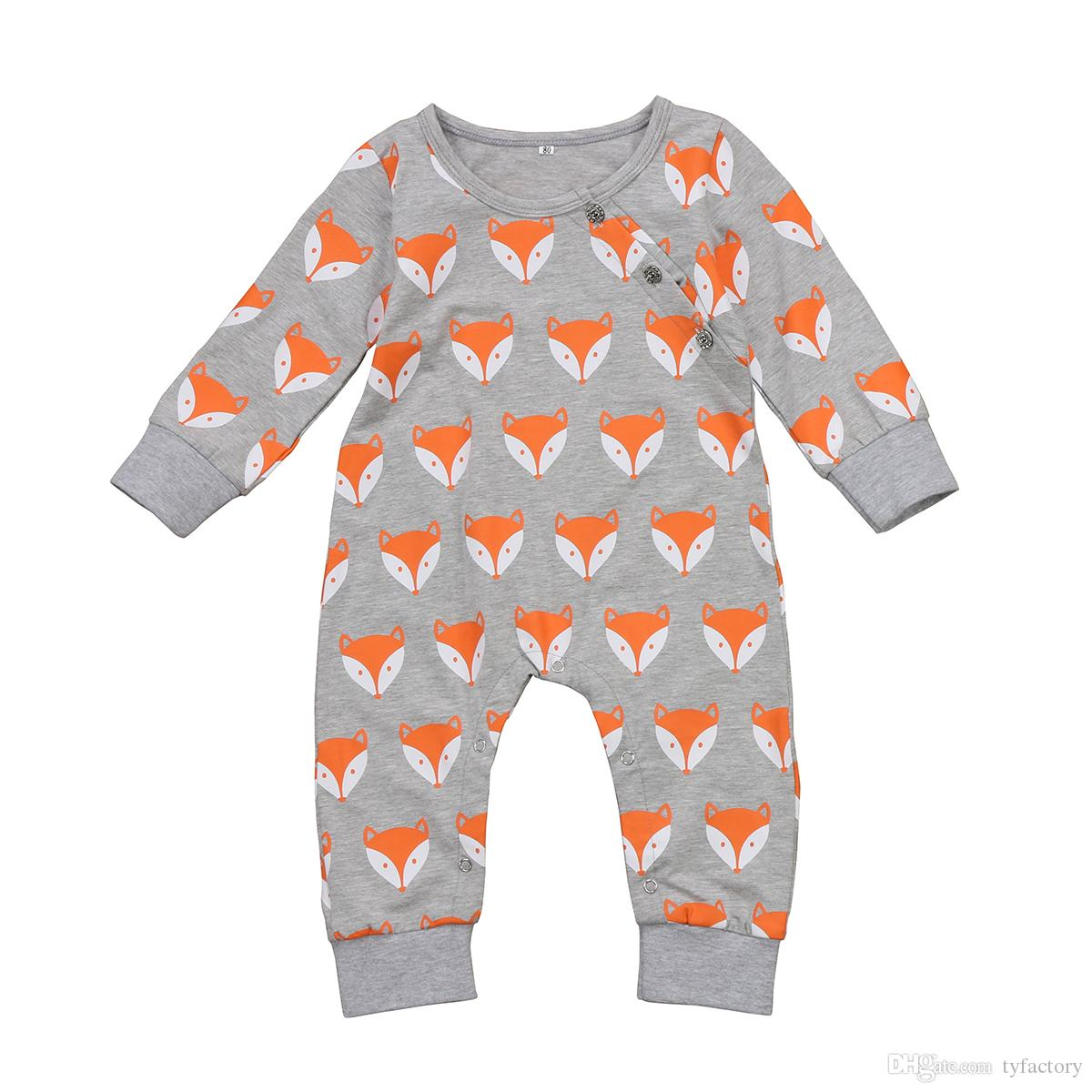 Toddler infant baby rompers fox head jumpsuits newborn boys girls bodysuits outfits one piece children cotton kids clothing long sleeve