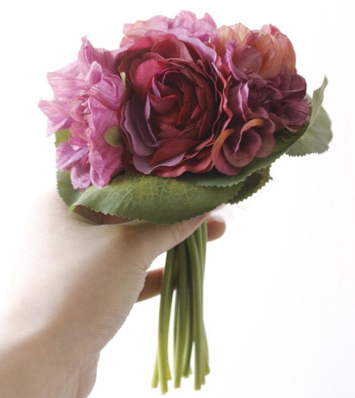 1 Bouquet Rose Dalie Fiori artificiali All'ingrosso Autunno Vivid Fake Leaf Wedding bouquet sposa Casa Decorazione del partito di alta qualità