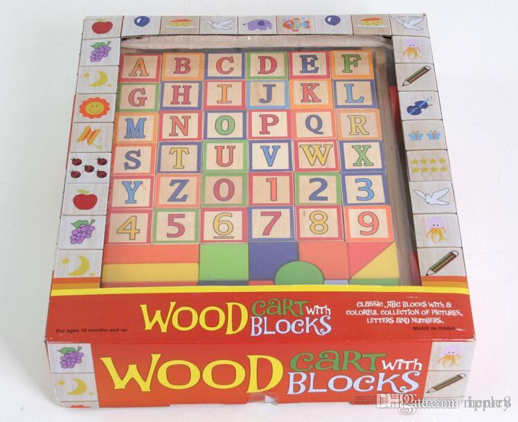 Оптовая 52 негабаритных резиновых деревянных блоков тянуть тележки прицепа. Дошкольные Игрушки