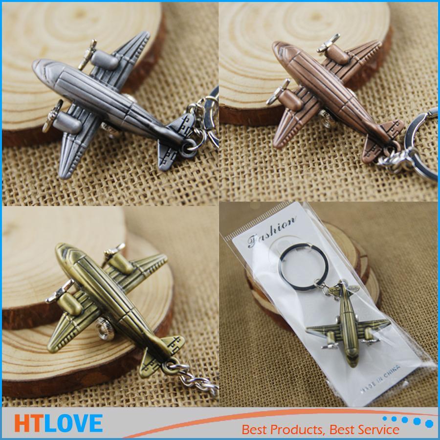 Vintage Aircraft Airplane Model Keychain Llavero Mini Air Plane Llaveros de aleación de metal regalo creativo Keyfob