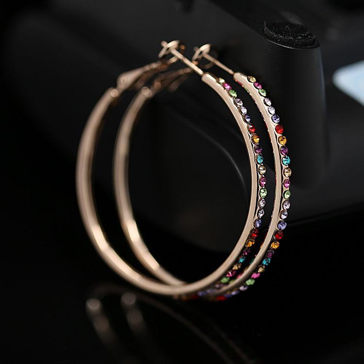 2015 горячая мода высококачественные серьги обруча диаметр 5.5 см 18 К позолоченные с австрийскими coloful кристаллов ювелирных изделий