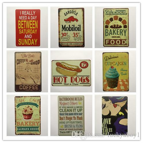 Hot Dog Mobiloil Cupcake Bakery Coffee Bathroom Rules Retro rustic tin metal sign Wall Decor Vintage Tin Poster Cafe Shop Bar home decor