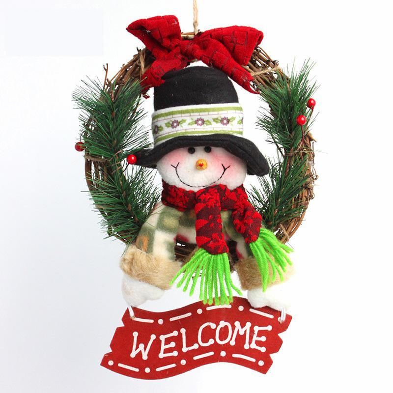 Christmas Decoration Snow Man Pendants Wreaths Door Hanging Ornaments Rattan Garlands Xmas Decorations For Home Party Decor
