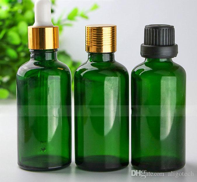 Venta al por mayor 88 * 4 Total 352Pcs de cristal líquido e cuentagotas Botellas de 50 ml botellas de aceite esencial de cristal verdes Más vendido 50ml envase de cristal Paquete