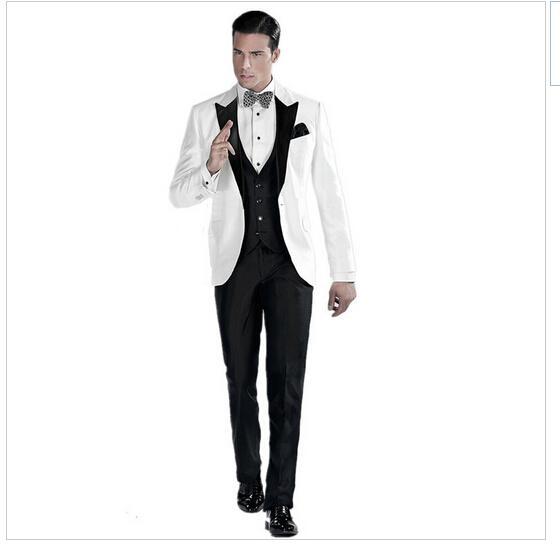 Sur mesure hommes costumes blanc veste avec satin noir luxuriant laine douce Notch costumes de mariage formel (veste + pantalon + nœud papillon + gilet) AA7