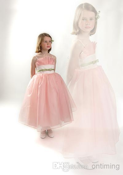 Light Pink Lotus Leaf Straps Pretty Ball Gown Children Pageant Dress Spaghetti Straps Sash Little Girls' Pageant Gown Candy/Angel Dress