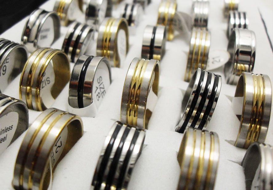 Top Mix of 50pcs Men Women Stainless Steel Rings gold silver black enamel MIX Wholesale Fashion Jewelry Lots