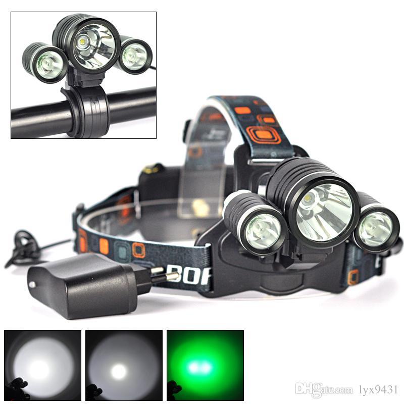 BORUIT 6000LM 3 x CREE XML T6 White+2R5 Green LED Headlamp Bicycle Head Light Headlamp Head Torches USB Lamp Charge