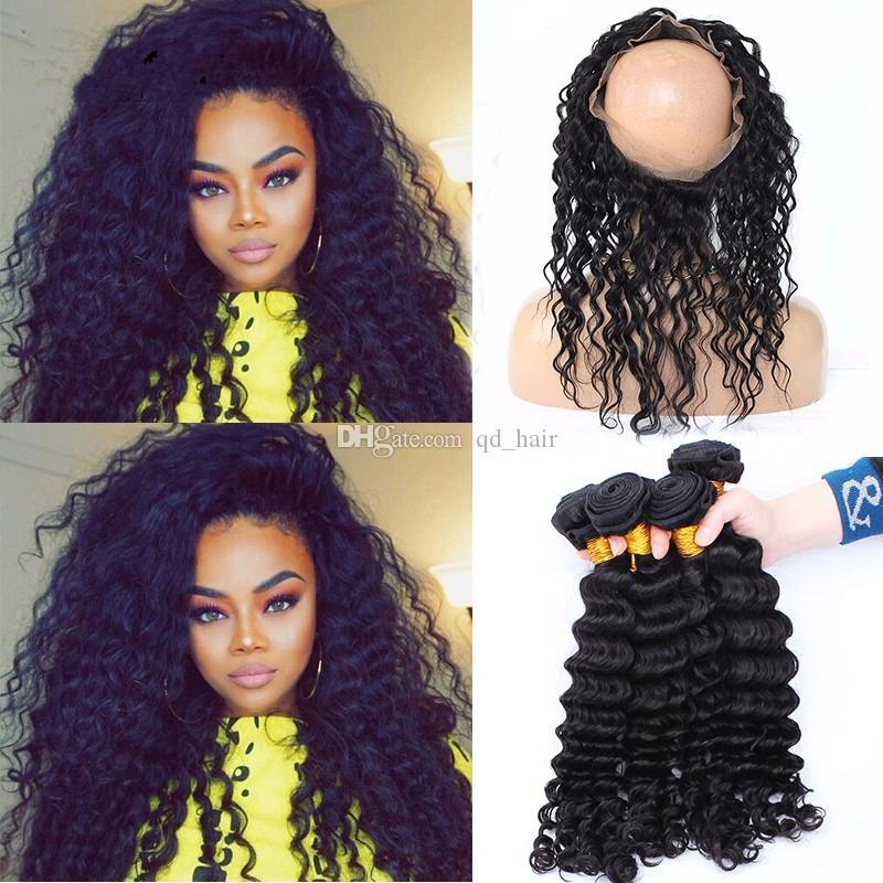 Горячие продажи 360 кружева фронтальная группа с пучками 9а бразильские волосы глубокой волны с 360 группа кружева фронтальная с 3 пучки
