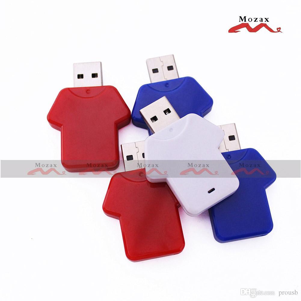 50PCS 128MB/256MB/512MB/1GB/2GB/4GB/8GB/16GB Memory Flash USB Drive 2.0 100% Real Storage Plastic T-shirt Style